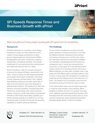 SFI Speeds Response Times and Business Growth with aPriori