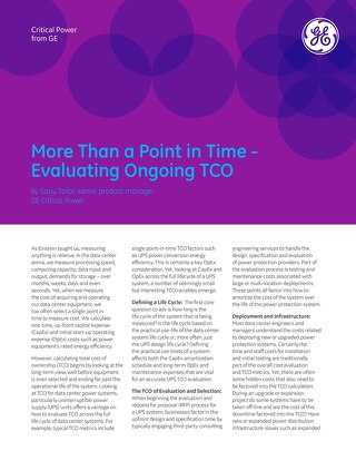 More Than a Point in Time - Evaluating Ongoing TCO