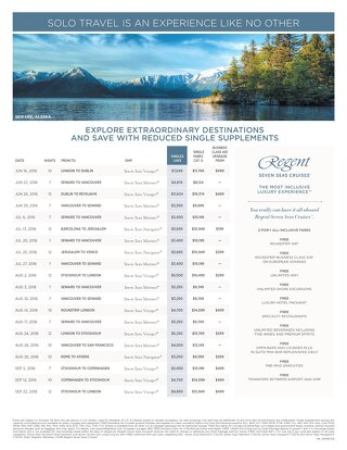 Single Traveler Promo from Regent Seven Seas Cruises