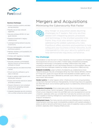 Mergers and Aquisitions Solution Brief