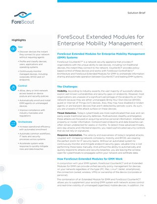 ForeScout Enterprise Mobility Management Solution Brief