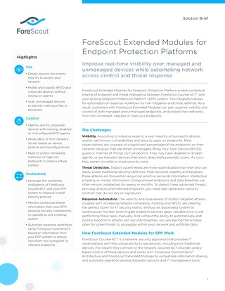 ForeScout Endpoint Protection Platforms Solution Brief