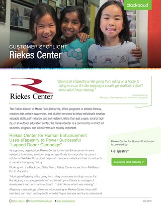 Riekes Center for Human Enhancement: eTapestry Customer Spotlight