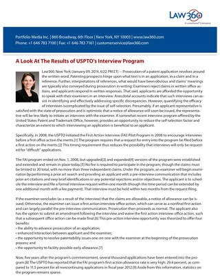 USPTO Interview Program by Kate Gaudry (courtesy of Law360)