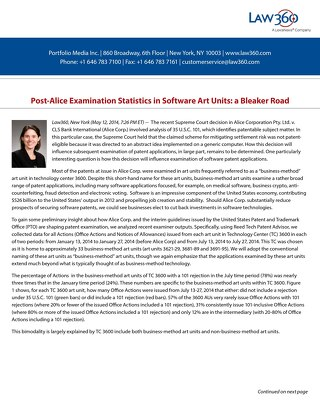 Post-Alice Examination Statistics by Kate Gaudry (courtesy of Law360)