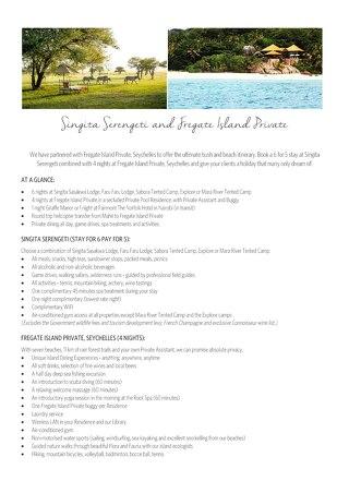 Singita Serengeti and Fregate Island Promotion