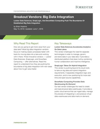 Forrester Breakout Vendors: Innovators Stretch Beyond Big Data Integration