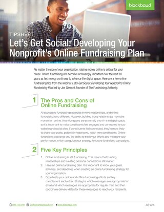 Tip Sheet: Developing Your Nonprofit's Online Fundraising Plan