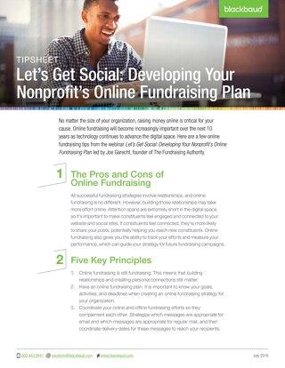 Tip Sheet: Developing Your Nonprofit's Online Fundraising Plan