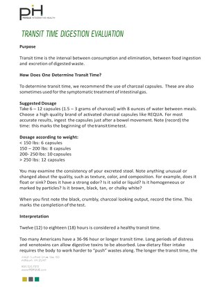 TRANSIT TIME DIGESTION EVALUATION_Protocol