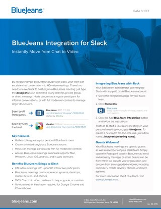 BlueJeans Integration for Slack