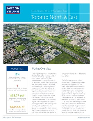 Toronto North & East Office Market Report (Q2 2016)
