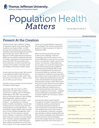 Population Health Matters Summer 2016