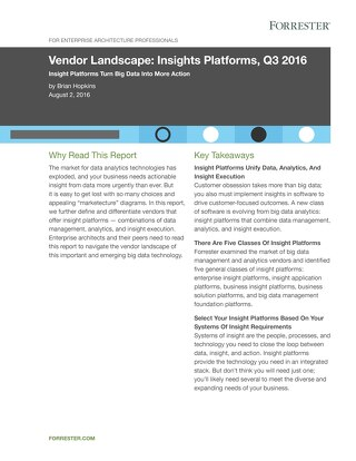 Vendor Landscape: Insights Platform