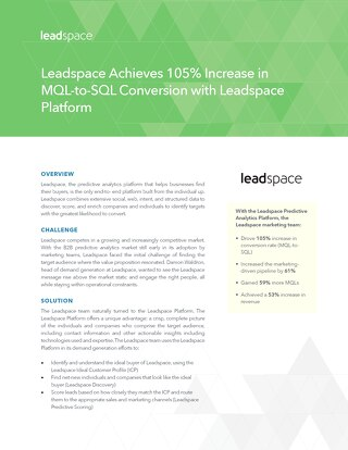 Leadspace Achieves 105% Increase in MQL-to-SQL Conversion with Leadspace Platform