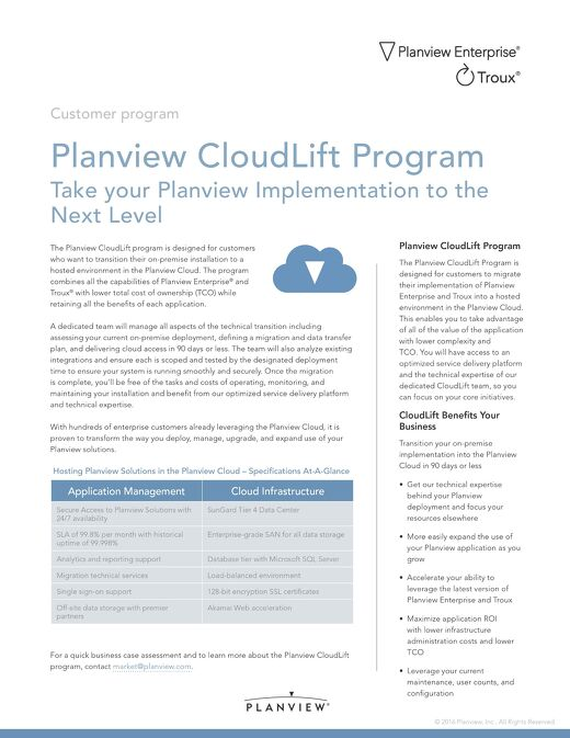 Planview CloudLift Program