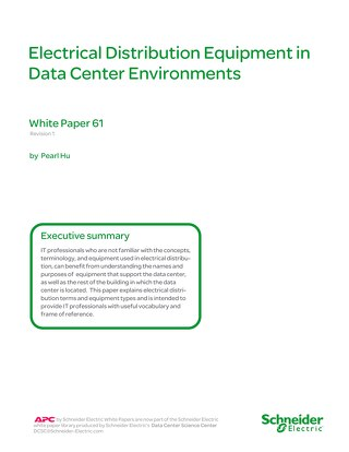 WP 61 - Electrical Distribution Equipment in Data Center Environments