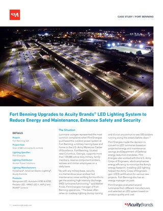 Fort Benning Saves Energy With New LED Lighting & Controls Solution