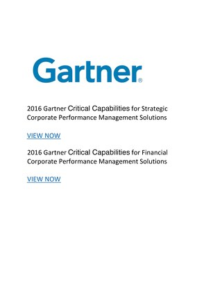 Gartner Critical Capabilities for Strategic and Financial CPM Solutions 2016