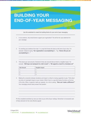 End of Year Campaign Messaging Worksheet