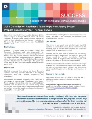 Joint Commission Readiness Team Helps New Jersey System Prepare Successfully for Triennial Survey