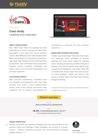 Yieldify case study - Virgin Trains
