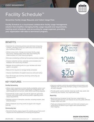 Facility Schedule Datasheet