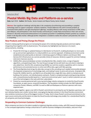 Pivotal Melds Big Data and Platform as a Service
