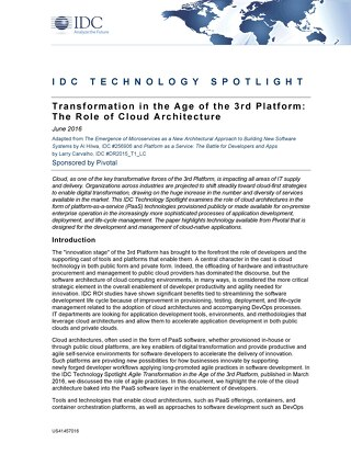 Transformation in the Age of the 3rd Platform: The Role of Cloud Architecture