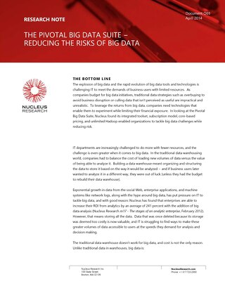 Pivotal Big Data Suite: Reducing the Risks of Big Data