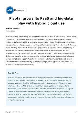 Pivotal Grows its PaaS and Big Data Play with Hybrid Cloud Use