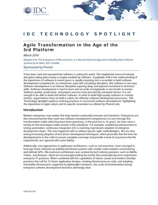 Agile Transformation in the Age of the 3rd Platform