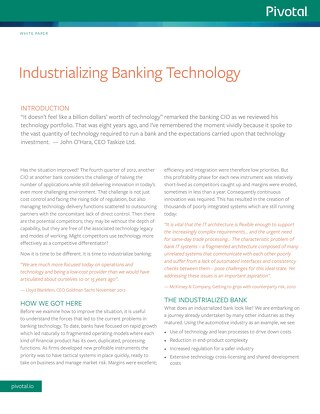 Industrializing Banking Technology