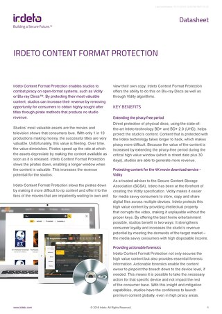Datasheet: Irdeto Content Format Protection
