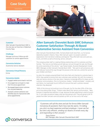 Allen Samuels Chevrolet case study (automotive service assistant)
