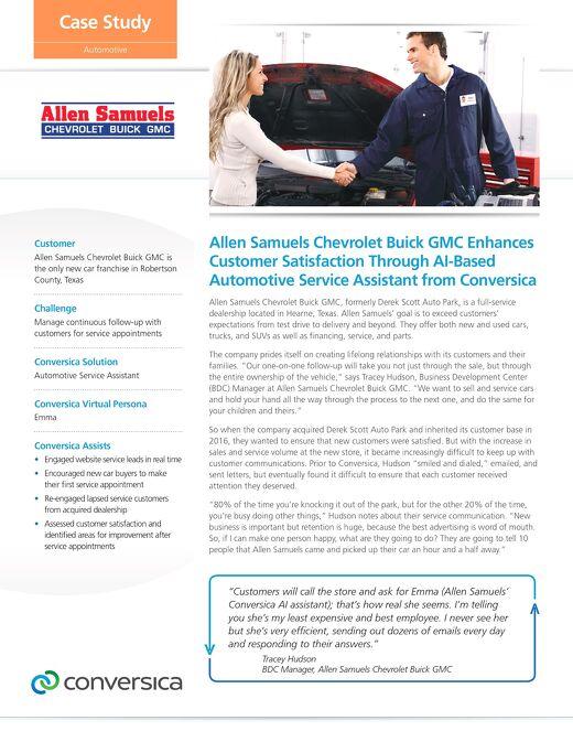 Allen Samuels Chevrolet case study (automotive service assistant)