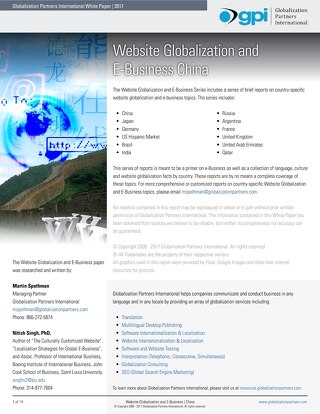 Website Globalization and E-Business - China