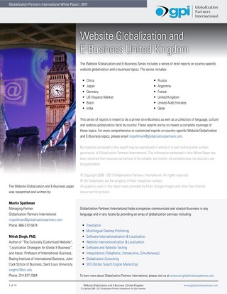 Website Globalization and E-Business - United Kingdom