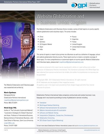Website Globalization and E-Business - United Kingdom