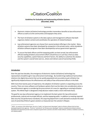 eCitation Coalition White Paper - Guidelines for Evaluating and Implementing eCitation Systems