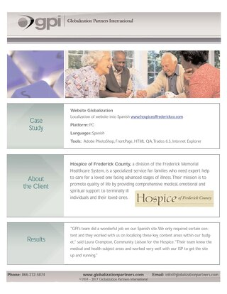 Hospice of Frederick Country: Website Localization Case Study