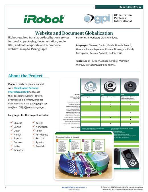 iRobot: Website and Document Localization Case Study