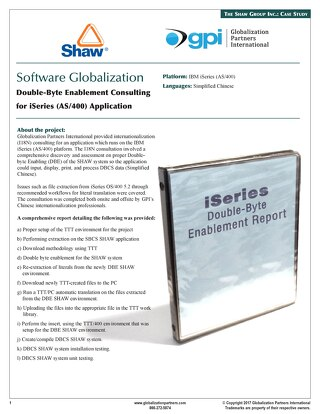 The Shaw Group Inc.: Software Localization Case Study