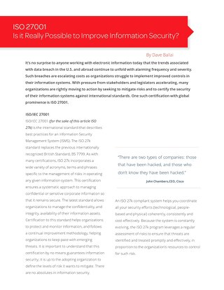 White Paper: Is it Really Possible to Improve Information Security?