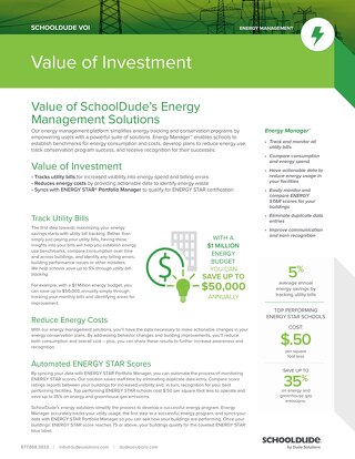 Energy Manager Value of Investment Datasheet