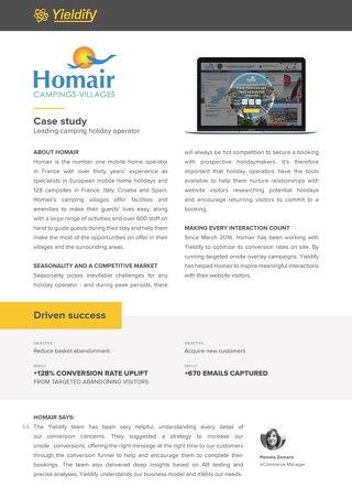 Yieldify case study - Homair