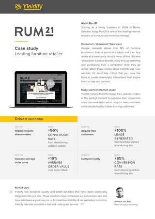 Yieldify case study - Rum21