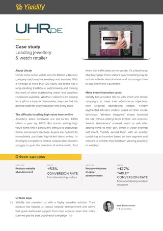 Yieldify case study - UHR