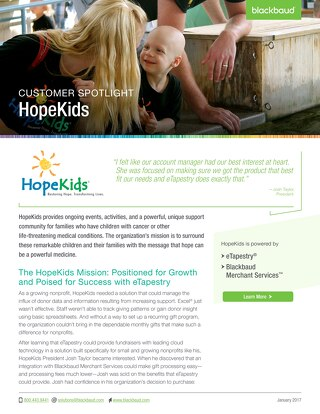 eTapestry Customer Spotlight: HopeKids