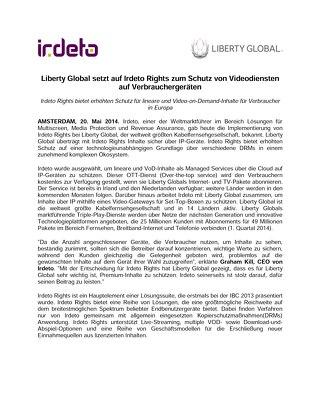Liberty Global setzt auf Irdeto Rights zum Schutz von Videodiensten auf Verbrauchergeräten